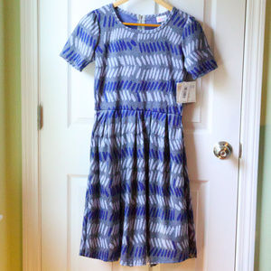 LuLaRoe Amelia Blue and Gray Dress